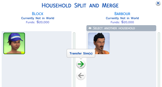 Select the spouse to be and click the right facing arrow to merge them into the household.